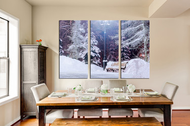 3 piece canvas photography, dining room canvas art prints, white snow wall decor, scenery art