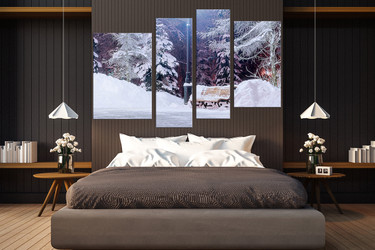 4 piece canvas wall art, white snow huge canvas print, bedroom canvas print, scenery large canvas