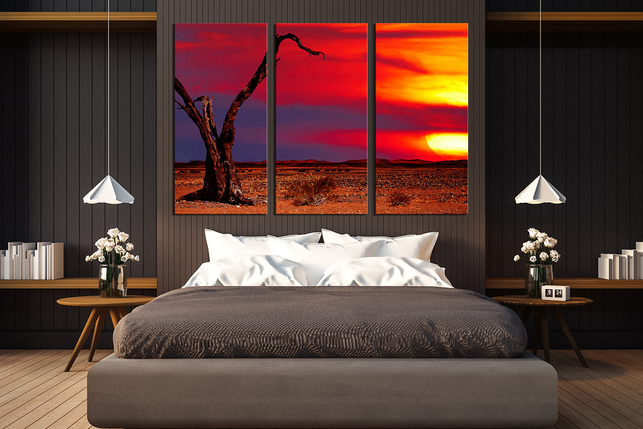 3 Piece Canvas Photography Red Artwork Scenery Large Pictures Sunset Canvas Print Desert Tree Wall Art