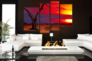 4 piece huge canvas print, living room canvas art prints, scenery wall decor, red large canvas, sunset  canvas photography