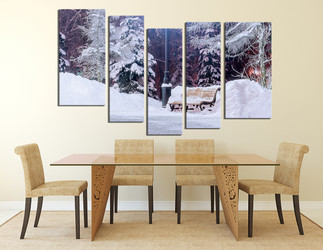 5 piece multi panel canvas, dining room huge pictures, scenery canvas print, white snow wall art