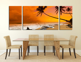 3 piece canvas wall art, dining room huge canvas art, panoramic multi panel art, orange ocean canvas photography