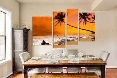 4 piece photo canvas, orange nature canvas print, scenery multi panel art, scenery artwork