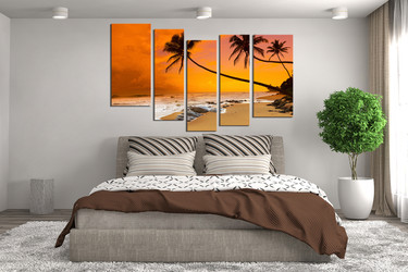 5 piece group canvas, orange sea photo canvas, ocean canvas photography, ocean large pictures