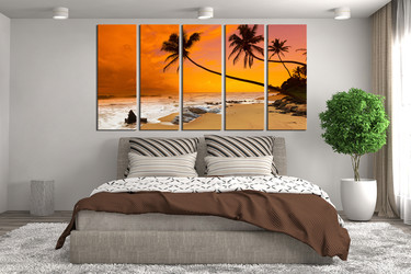 5 piece large pictures, bedroom canvas wall art, orange multi panel canvas, ocean decor