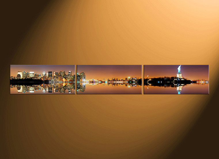3 piece large canvas, home decor, city wall decor, city multi panel canvas, city, canvas wall art