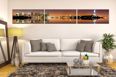 3 piece canvas wall art, living room canvas print, city canvas photography, statue of liberty artwork