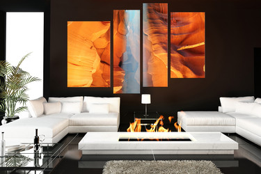 4 piece large canvas, living room canvas print, landscape art, orange multi panel canvas, sunshine canvas photography