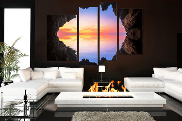 4 piece huge pictures, blue canvas print, mountain canvas wall art, ocean home decor, living room huge canvas art