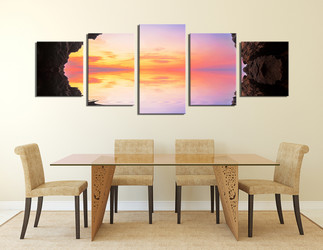 5 piece large canvas, dining room huge canvas print, ocean art, blue artwork, panoramic canvas wall art