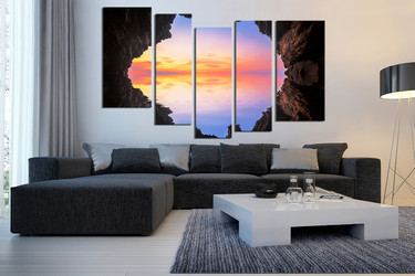 5 piece photo canvas, living room large canvas, blue huge pictures, ocean canvas photography