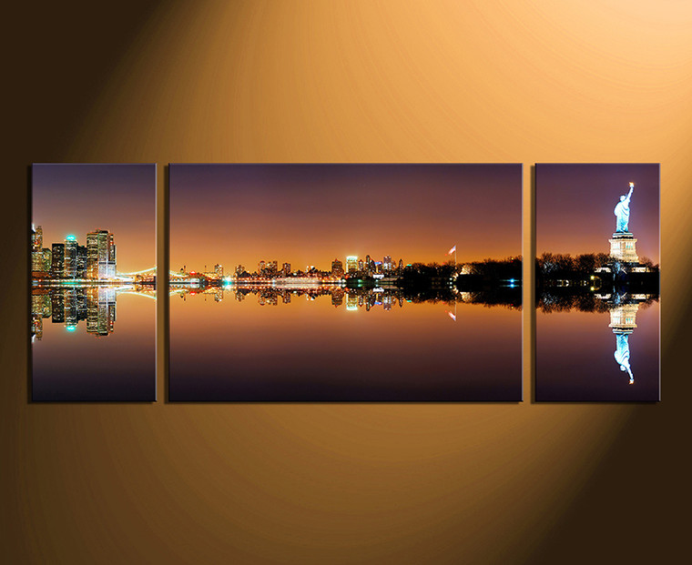 3 piece large pictures, brown city canvas wall art, statue of liberty artwork, city canvas photography, home decor