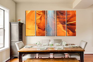 5 piece canvas print, dining room huge canvas art, landscape canvas photography, orange canvas art prints, sunshine multi panel canvas