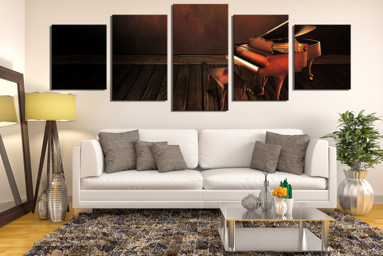 5 Piece Canvas Wall Art Music Large Pictures Piano Canvas Photography Brown Multi Panel Canvas Musical Instrument Huge Canvas Print