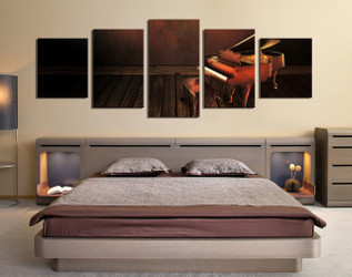 5 piece large pictures, panoramic group canvas, music wall decor, musical instrument canvas photography, piano artwork