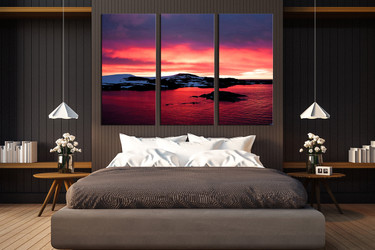 3 piece large pictures, bedroom large canvas, landscape artwork, ocean huge canvas print, red wall decor