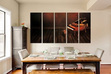 5 piece photo canvas, dining room multi panel art, music large pictures, musical instrument, piano artwork