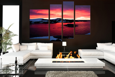 4 piece canvas wall art, living room wall decor, landscape huge canvas print, ocean huge pictures, red artwork
