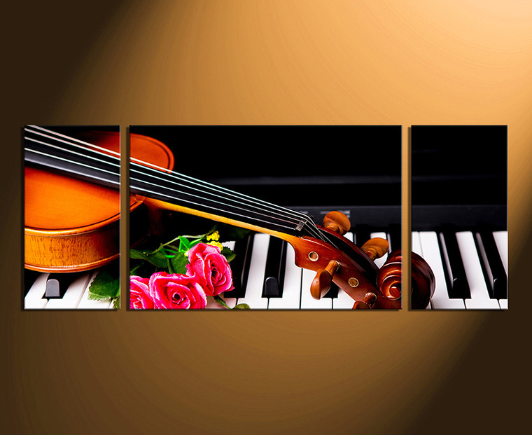 3 piece photo canvas, panoramic multi panel art, piano canvas photography, musical instrument wall art, home decor