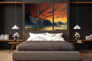 3 piece canvas art prints, bedroom huge canvas art, landscape canvas photography, orange photo canvas, mountain canvas print