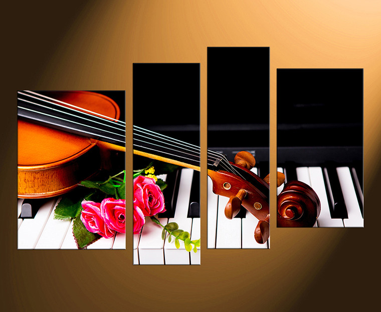 4 piece large pictures, piano canvas photography, floral artwork, musical instrument canvas print, music group canvas, home decor