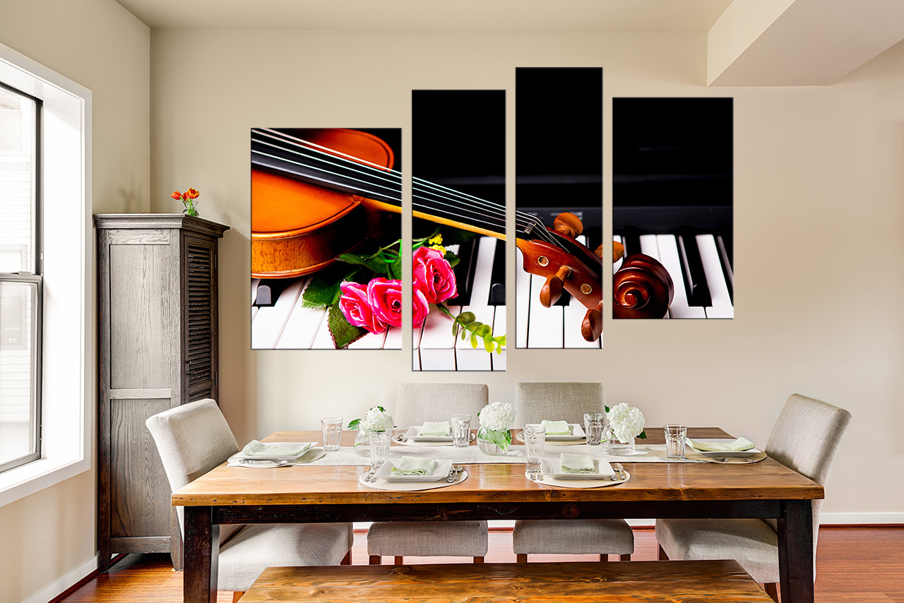 4 Piece Artwork Piano Large Pictures Pink Rose Wall Art Brown Multi Panel Canvas Violin Photo Canvas Piano Huge Canvas Print