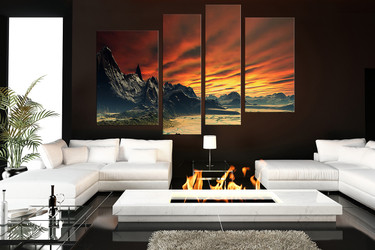 4 piece canvas art prints, living room wall art, landscape huge canvas print, orange art, mountain canvas photography