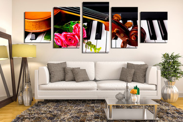 5 piece photo canvas, living room canvas wall art, music artwork, floral multi panel canvas, violin multi panel art