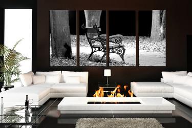4 piece art, living room canvas wall art, modern wall decor, grey artwork, tree leaves    large canvas