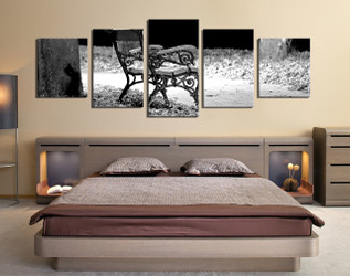5 piece multi panel art, bedroom large canvas, modern canvas wall art, grey large pictures, panoramic canvas print