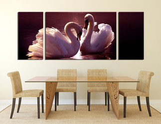 3 piece huge canvas art, dining room multi panel art, swan large pictures, panoramic canvas photography, bird artwork