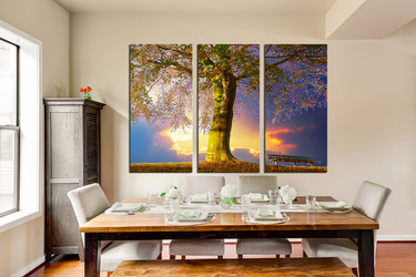 3 piece group canvas, dining room canvas print, scenery multi panel canvas, blue wall decor, tree art, autumn canvas photography