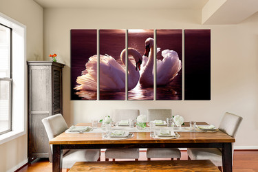 5 piece large canvas, swan huge pictures, dining room canvas photography, wildlife group canvas
