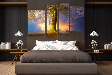 4 piece multi panel canvas, bedroom canvas art prints, scenery artwork, blue wall decor, tree canvas photography, autumn group canvas