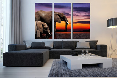 3 piece canvas wall art, living room multi panel canvas, elephant huge canvas art, animal group canvas