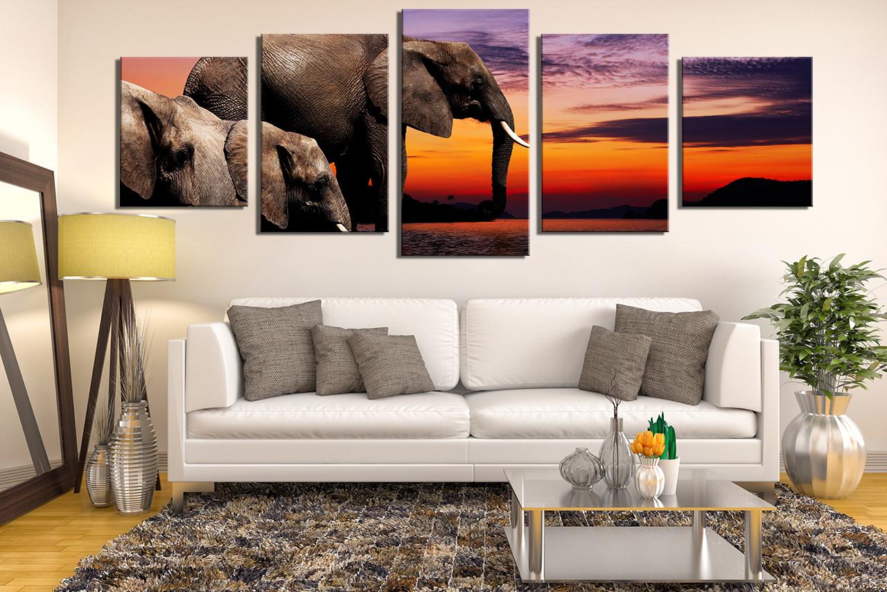 5 Piece Huge Canvas Print Elephant Wall Art Panoramic Canvas Photography Brown Canvas Art Prints Wildlife Wall Decor