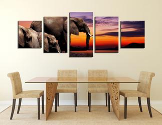 5 piece group canvas, panoramic canvas wall art, elephant multi panel art, animal art, wildlife decor