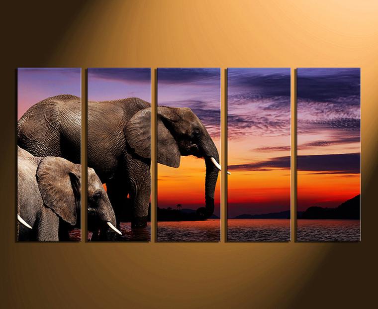 5 piece canvas print, home decor, elephant wall art, animal multi panel canvas, wildlife artwork