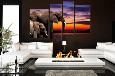 4 piece canvas print, living room multi panel art, elephant huge canvas print, animal photo canvas
