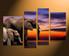 4 piece canvas wall art, elephant multi panel canvas, animal canvas print, wildlife canvas photography, home decor