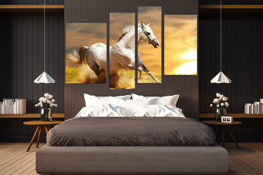 4 piece canvas wall art, bedroom huge pictures, horse group canvas, wildlife photo canvas, animal art