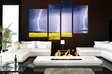 4 piece photo canvas, living room multi panel canvas, scenery huge canvas print, purple art, thunderstorm  canvas print