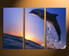 3 piece large pictures, home decor, dolphin canvas wall art, wildlife huge pictures, fish artwork