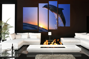 4 piece group canvas, living room canvas photography, dolphin artwork, wildlife wall decor
