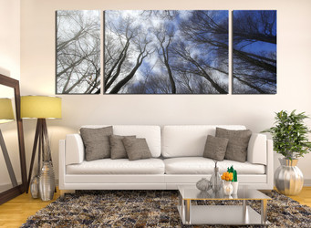3 piece canvas print, living room canvas art prints, scenery huge pictures, blue photo canvas, tree huge canvas print, panoramic canvas photography