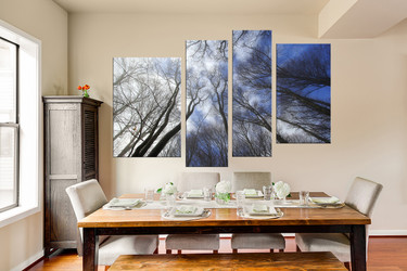 4 piece canvas wall art, dining room wall decor, scenery huge pictures, blue artwork, tree photo canvas