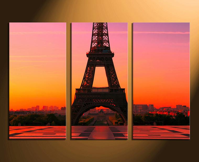 3 piece canvas wall art, orange home decor, city large pictures, eiffel tower group canvas, city art