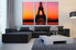 3 piece wall art, city wall decor, eiffel tower large pictures, orange city art, living room huge pictures