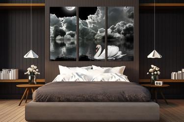 3 piece photo canvas, bedroom canvas wall art, swan huge canvas art, wildlife art, black and white artwork
