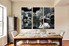 3 piece large pictures, dining room canvas wall art, swan huge canvas print, black and white group canvas
